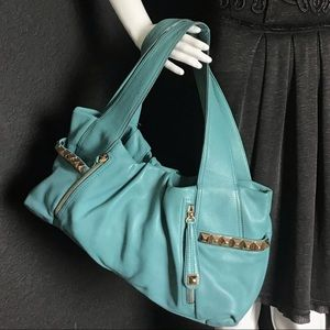 B. Makowsky Tiffany Blue Studded Hobo Leather Bag